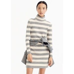 NWT J. Crew Grey Striped Turtleneck Sweater Dress